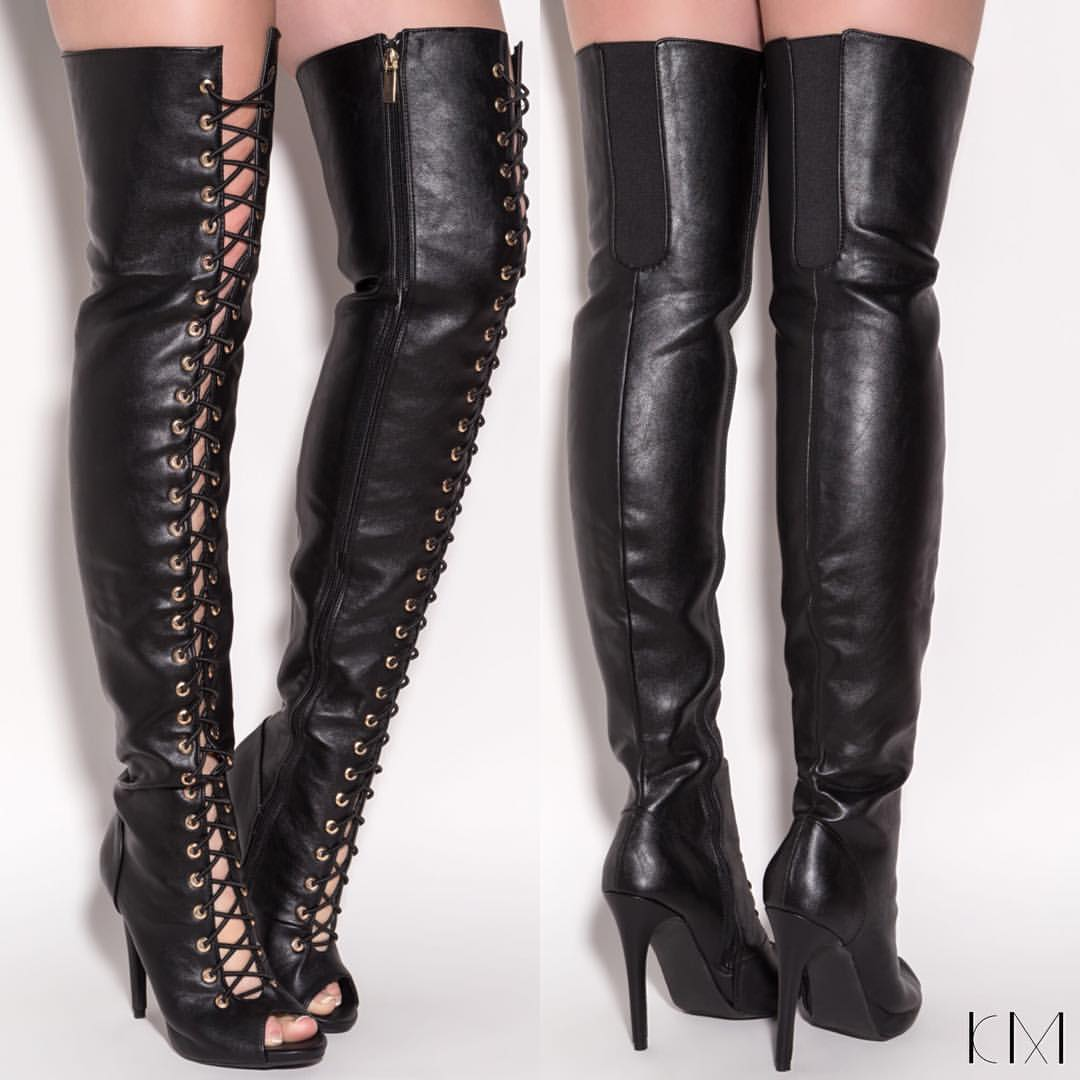 Peep Toe Thigh High Boots 9HcvHVOG