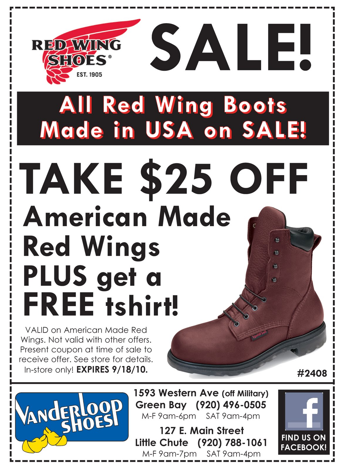 Save money with 9 Red Wing Shoes promo codes, discount codes in December Today's top Red Wing Shoes discount. New King Toe ADC Works Boots!. Top 1 Promo Codes. Go. Red Wing Shoes Promo Codes December Red Wing Shoes Promo Codes in December are updated and verified. Today's top Red Wing Shoes Promo Code.