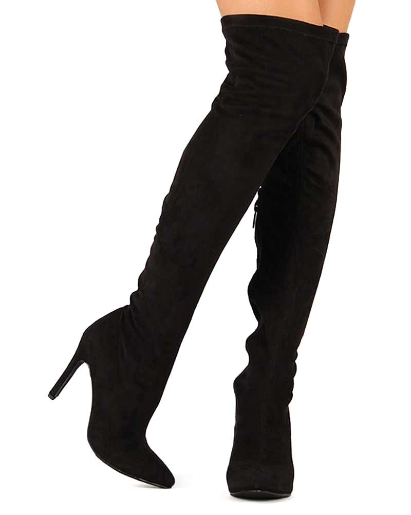Suede Thigh High Heel Boots MLBm4kCE