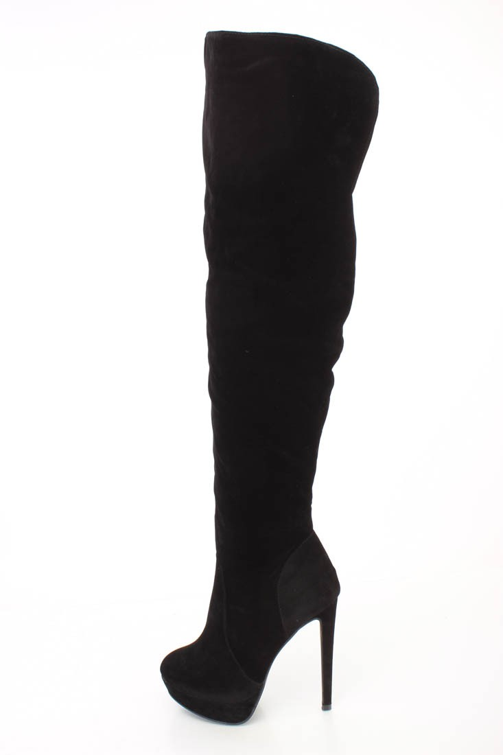 Suede Thigh High Heel Boots JZ95nycc