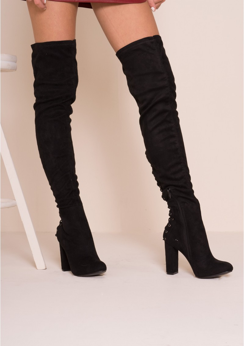 Thigh High Black Suede Boots DvasxwEi