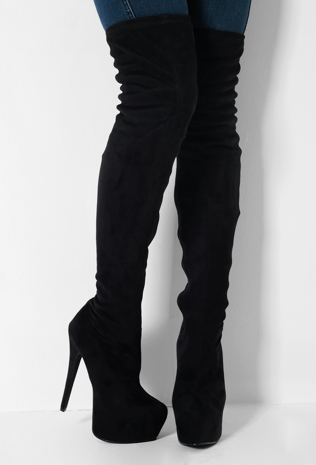 Thigh High Black Suede Boots kGZc9W6v