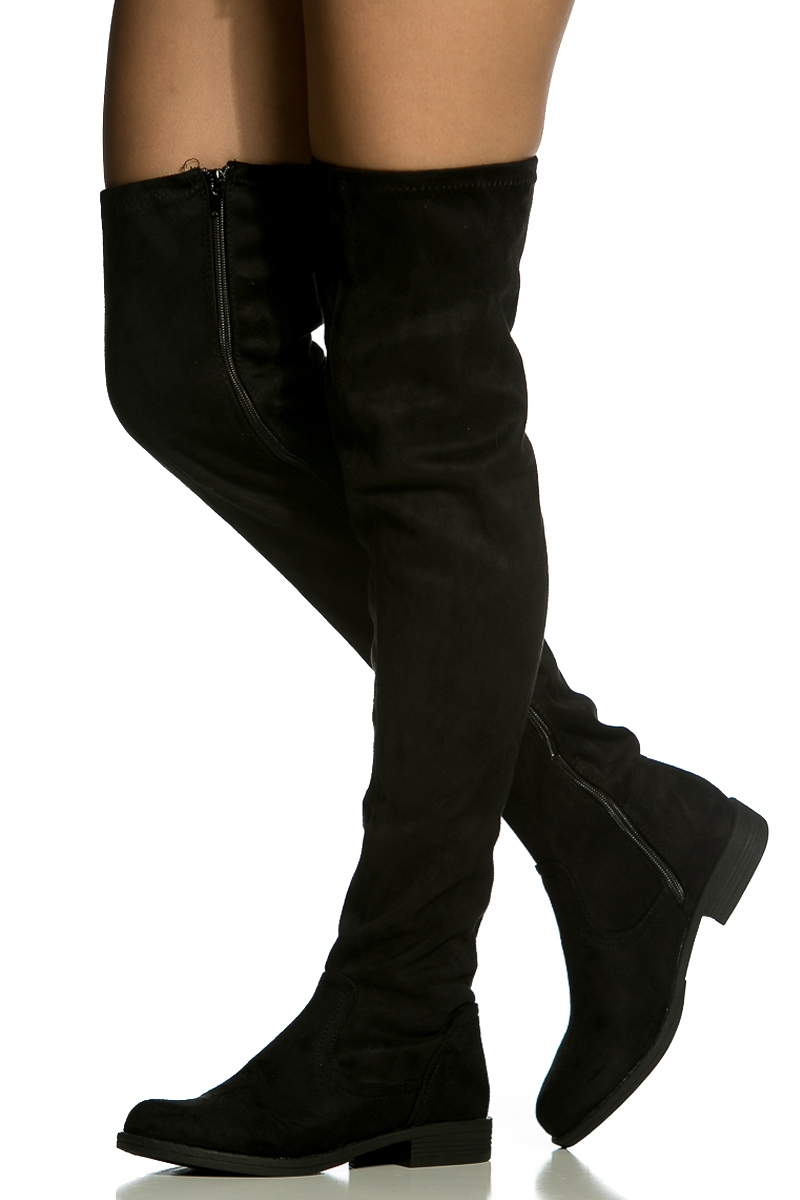 thigh high black suede boots boot yc