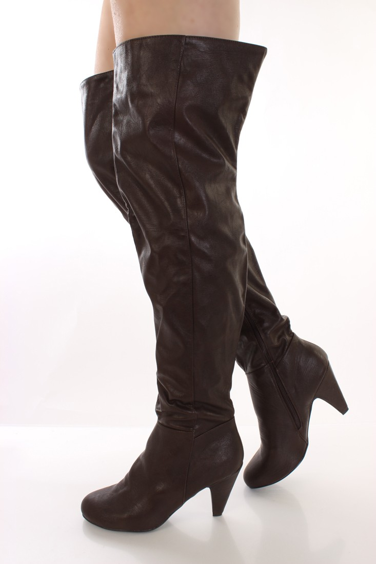 Thigh High Brown Boots 3D9kzxuo