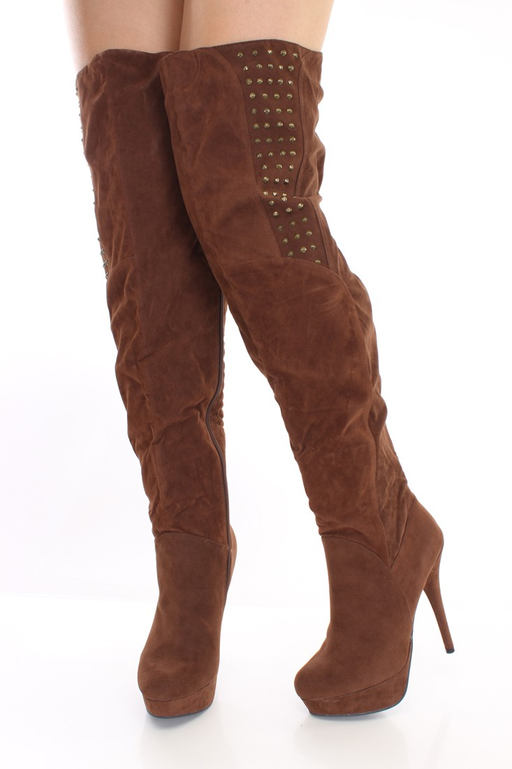 Thigh High Brown Boots yHSsx8B5