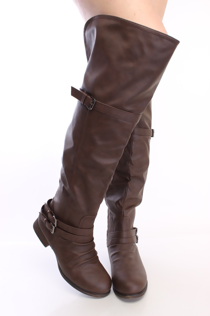 Thigh High Brown Boots s2K5H7Bw