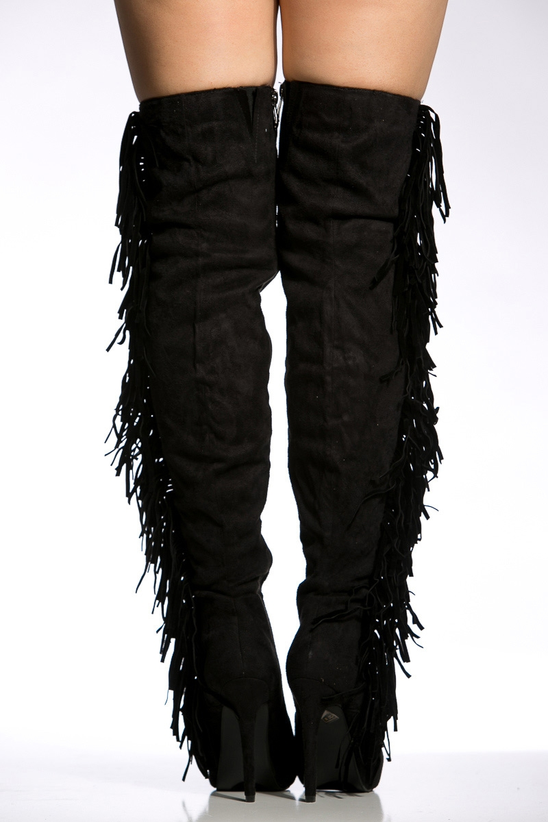 Thigh High Fringe Boots - Boot Yc
