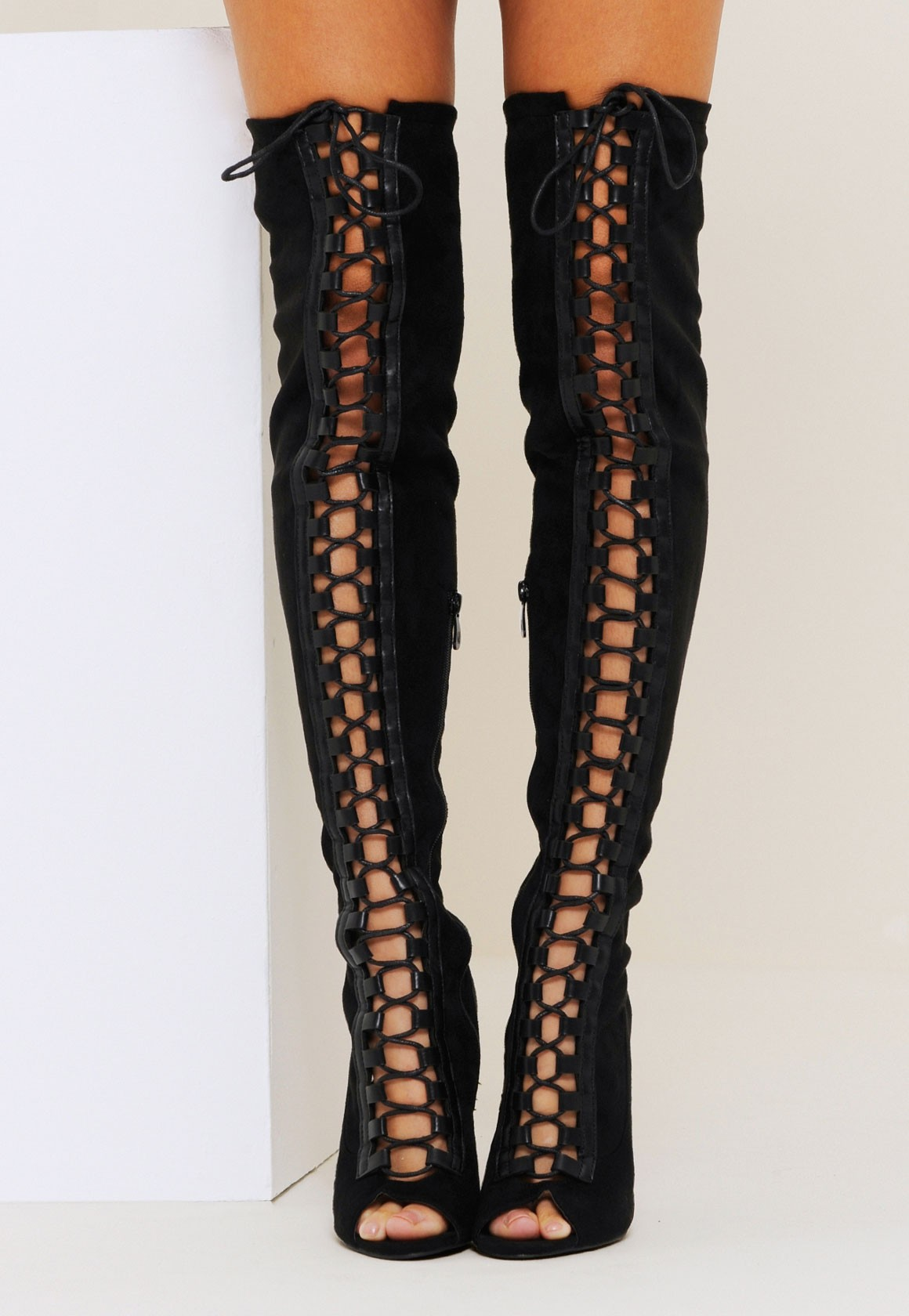 Thigh High Lace Up Open Toe Boots c7ctHwFP