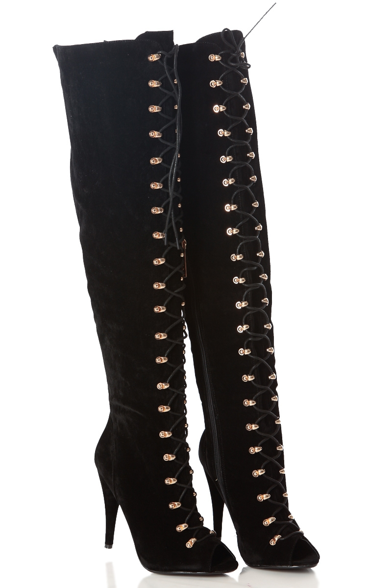 Thigh High Lace Up Open Toe Boots 2YOLEYli