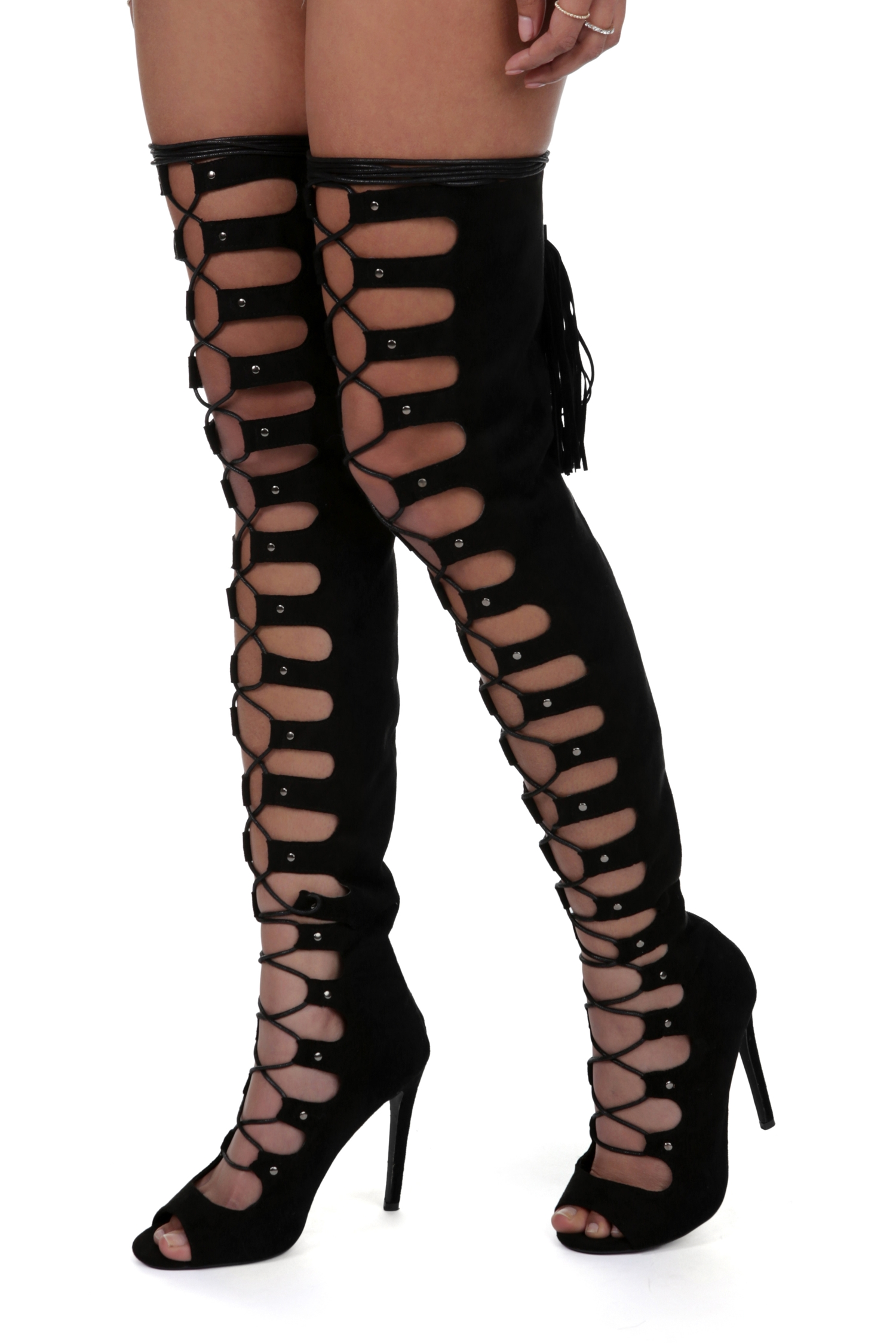 Thigh High Lace Up Open Toe Boots 082PY57Z
