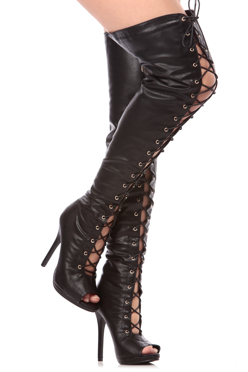 Thigh High Open Toe Boots b1ppSkLp