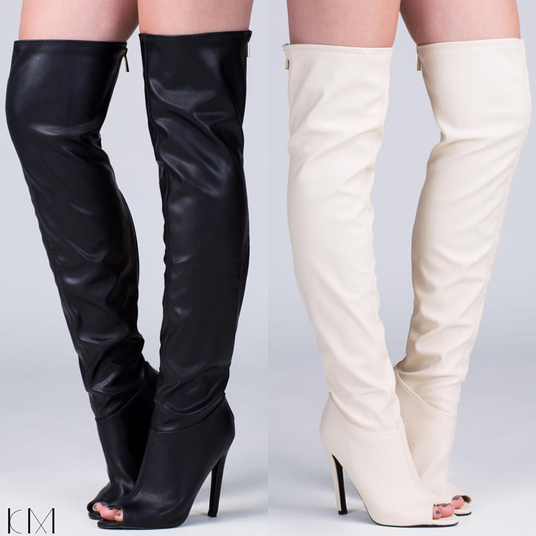 Thigh High Peep Toe Boots 8Pac8ojT