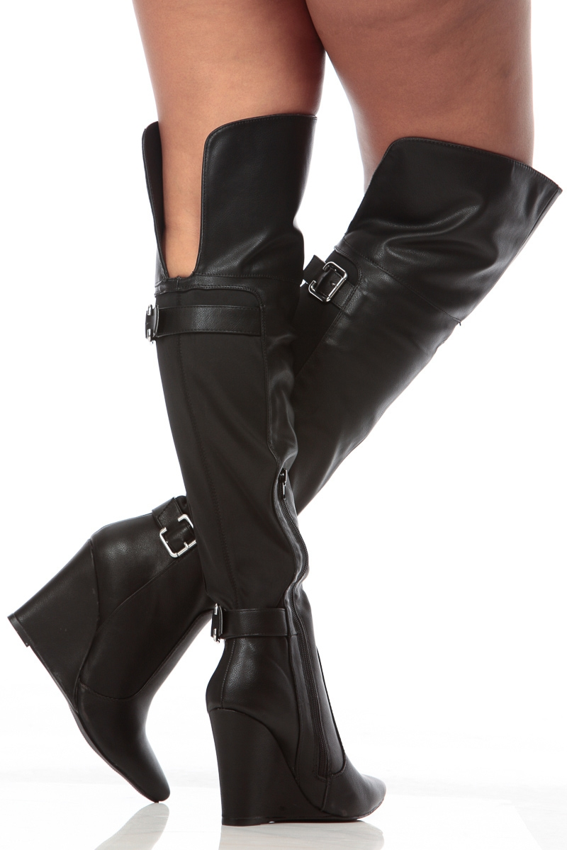 Thigh High Wedge Boots Boot Yc