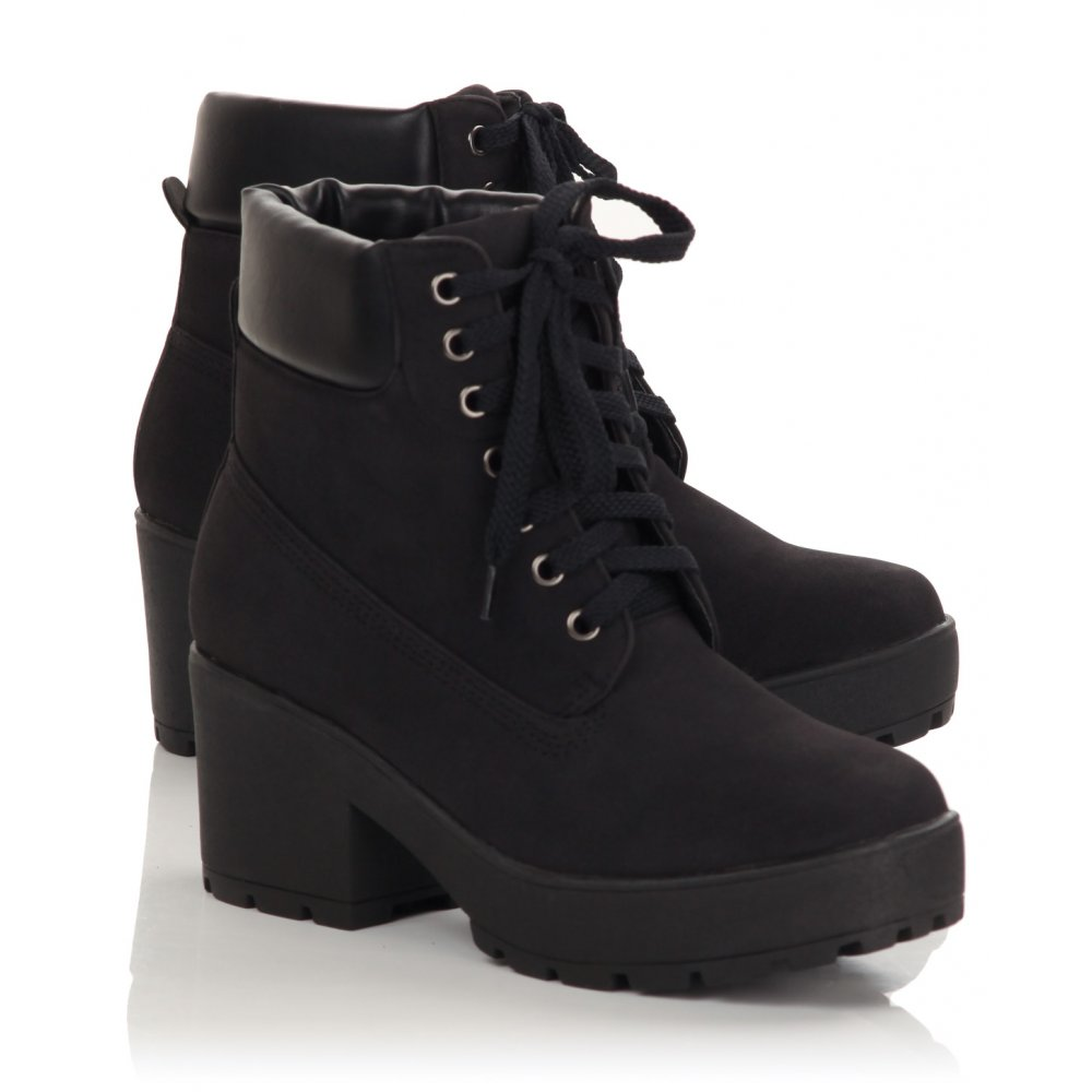 Womens Black Lace Up Boots M4W6GNgJ