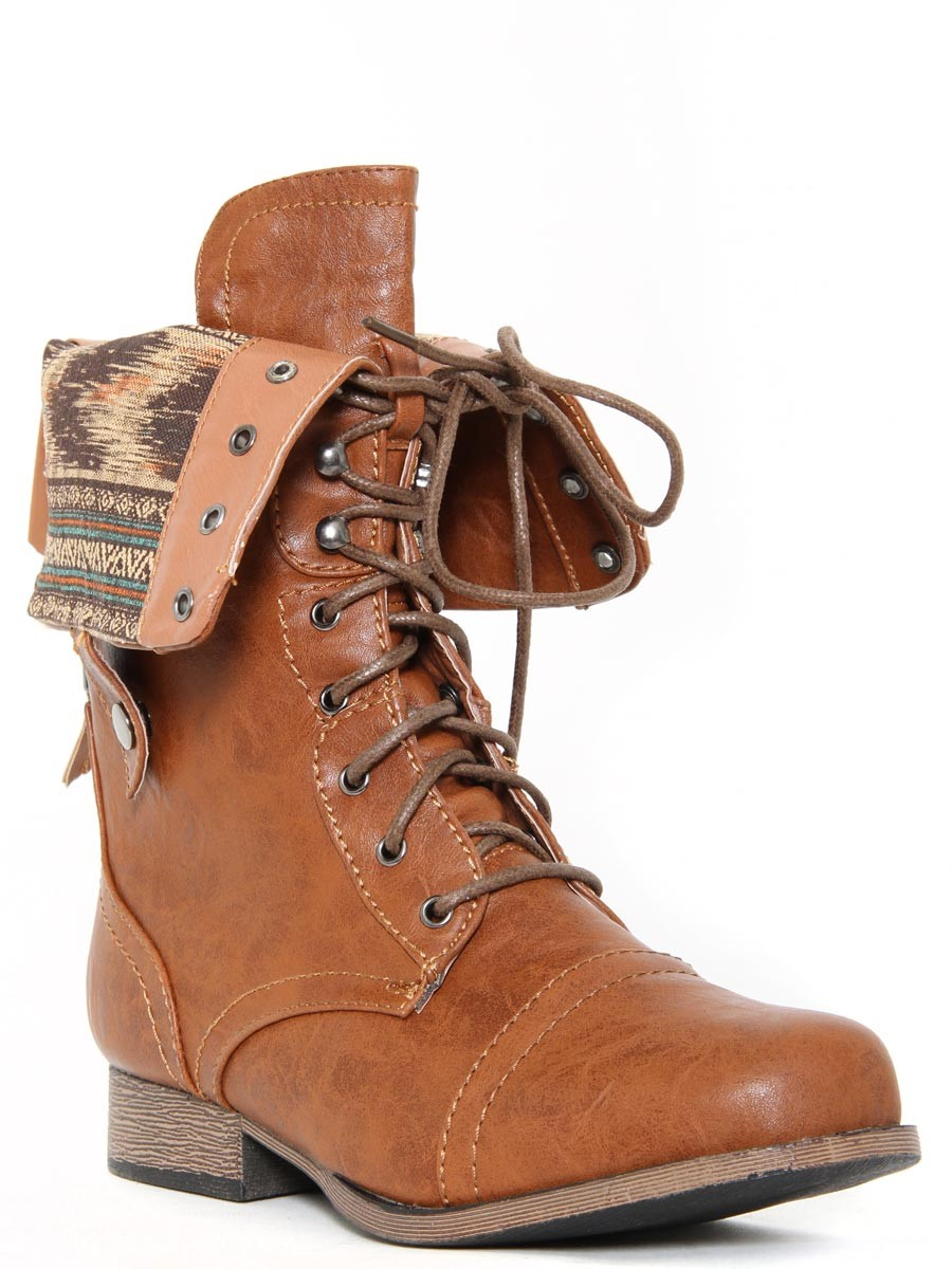 Womens Brown Combat Boots I8aND6Y7