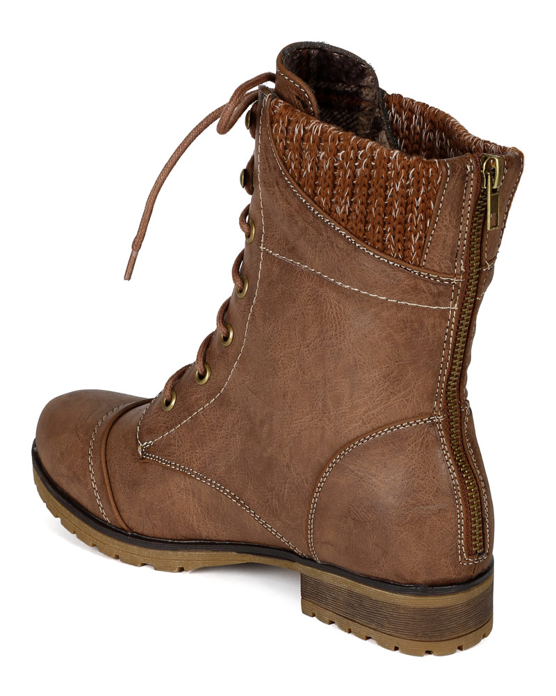 Womens Brown Combat Boots rHieppMo