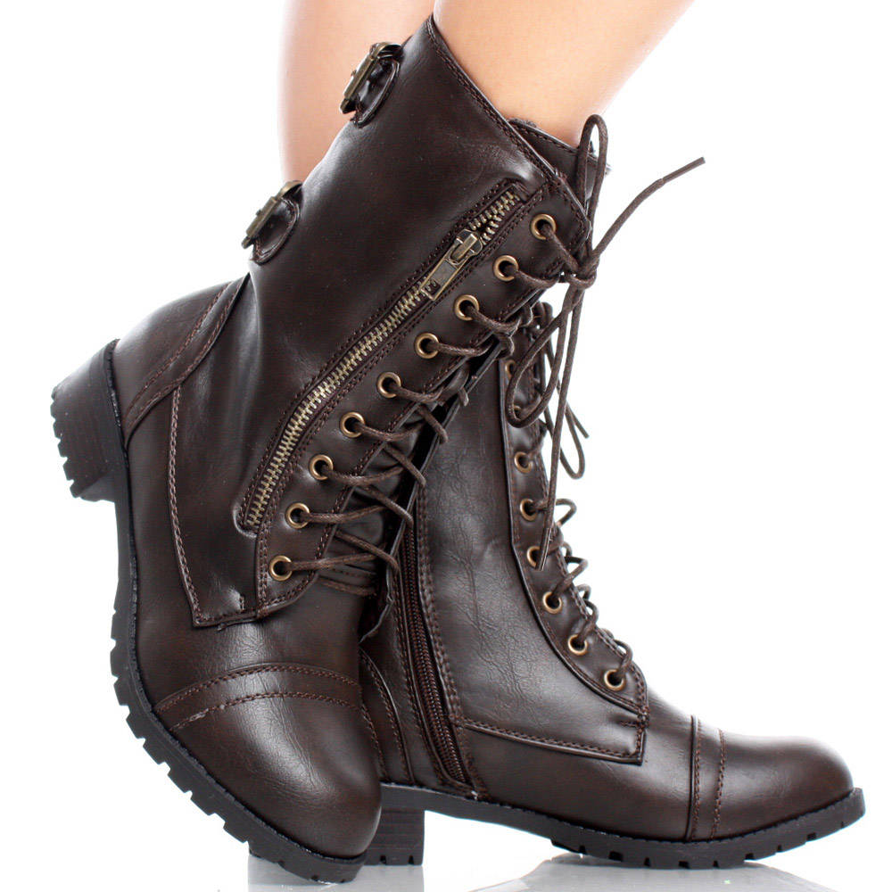 Womens Leather Combat Boots BMGTknhC