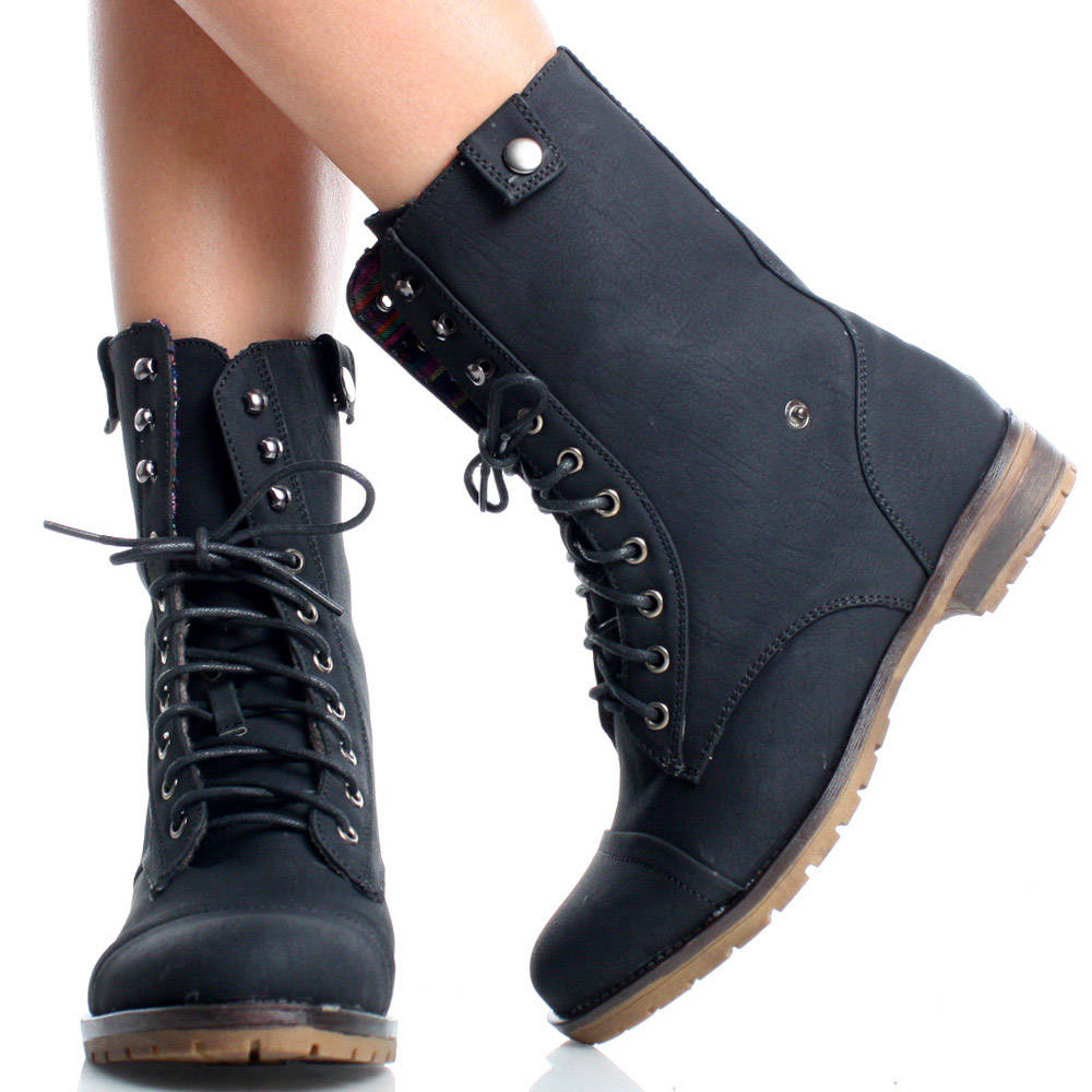 Womens Leather Combat Boots gir31IyC