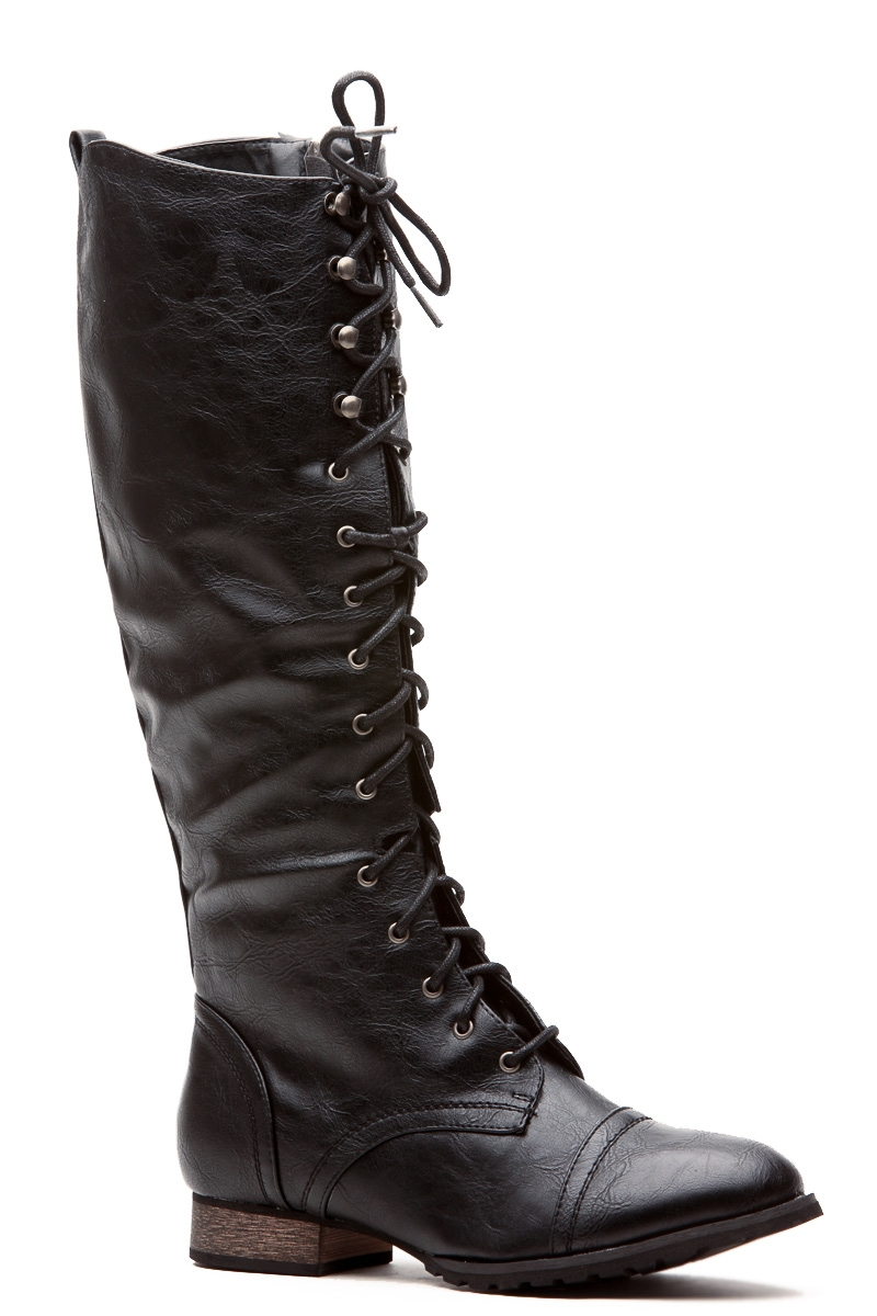 Black Lace Up Combat Boots N1dAP2dZ