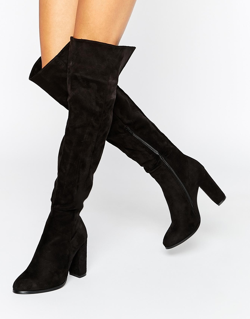 Black Over The Knee Boots With Heel WJVBGQCM