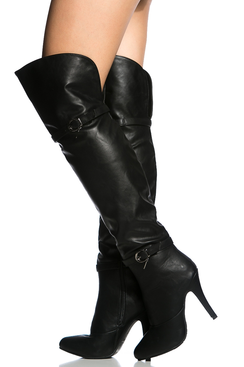 Black Over The Knee High Heel Boots xRYSED8H