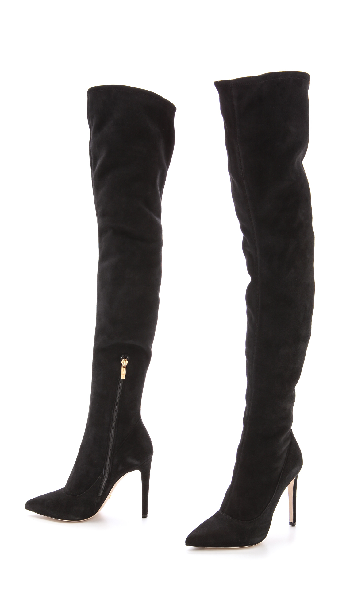 Black Suede Over The Knee Boots Heel tN36y8Em
