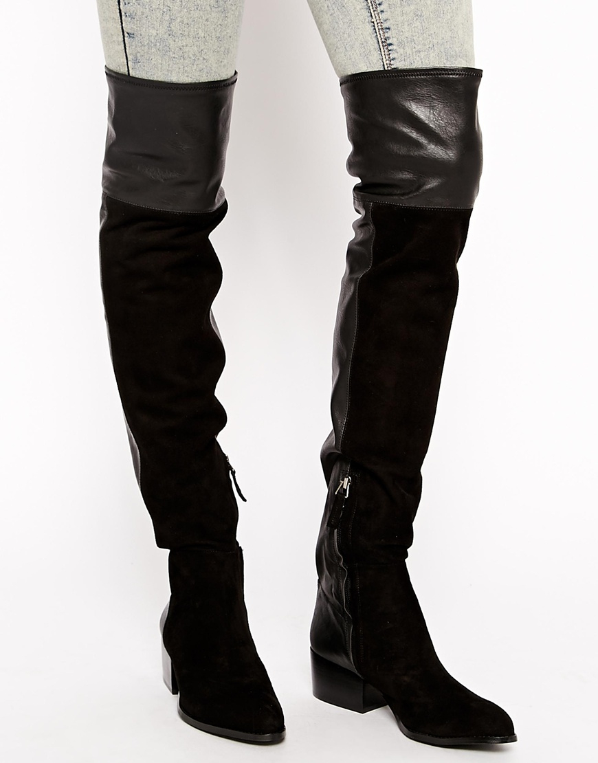 Black Suede Over The Knee Boots Heel TsglHjvx