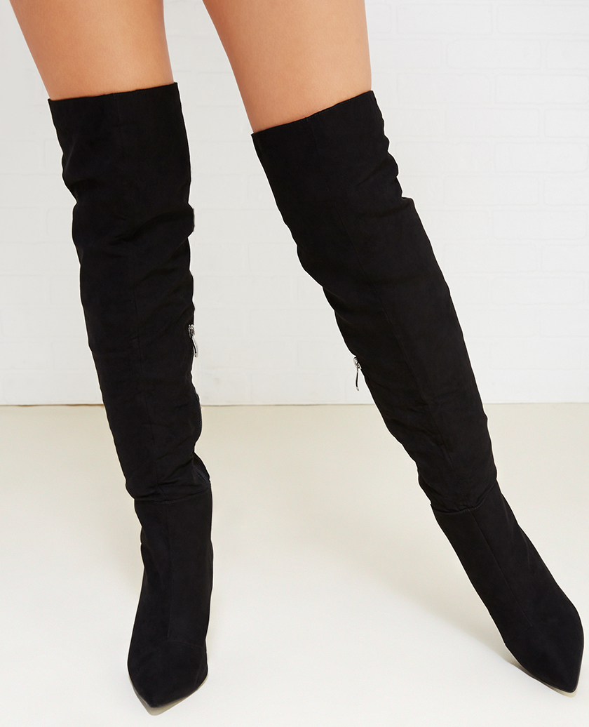 thigh high suede black boots tsaa heel