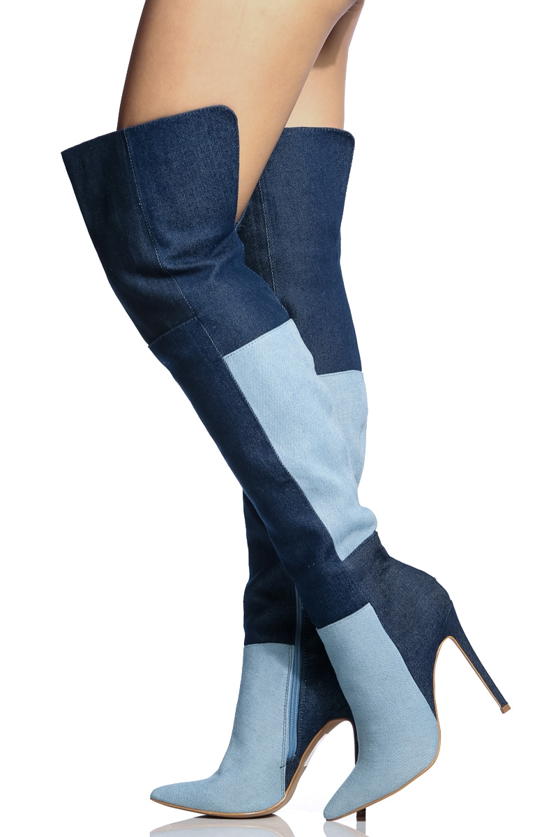 Blue Thigh High Boots c08xCuHs