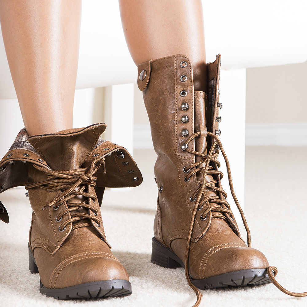 brown lace up combat boots boot yc