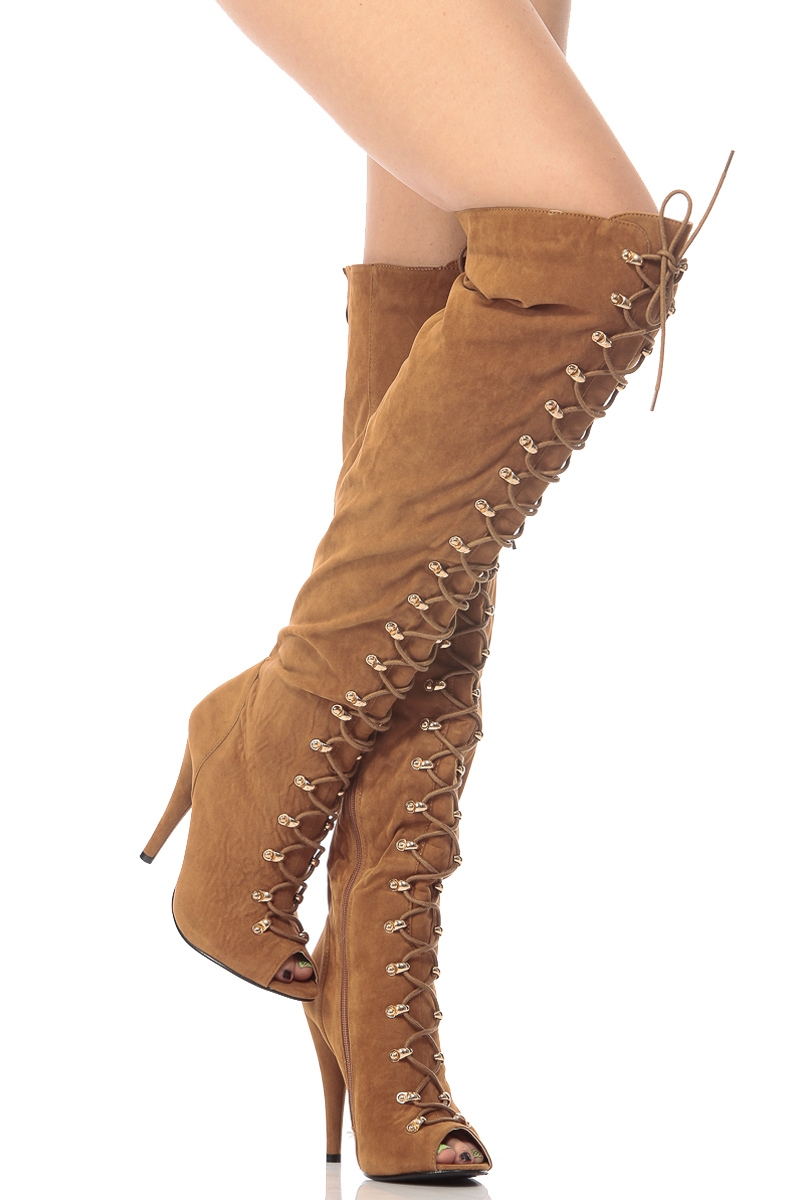 Brown Suede Thigh High Boots 3kLhuVKM