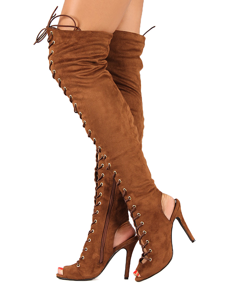 Brown Suede Thigh High Boots eB0bS58V