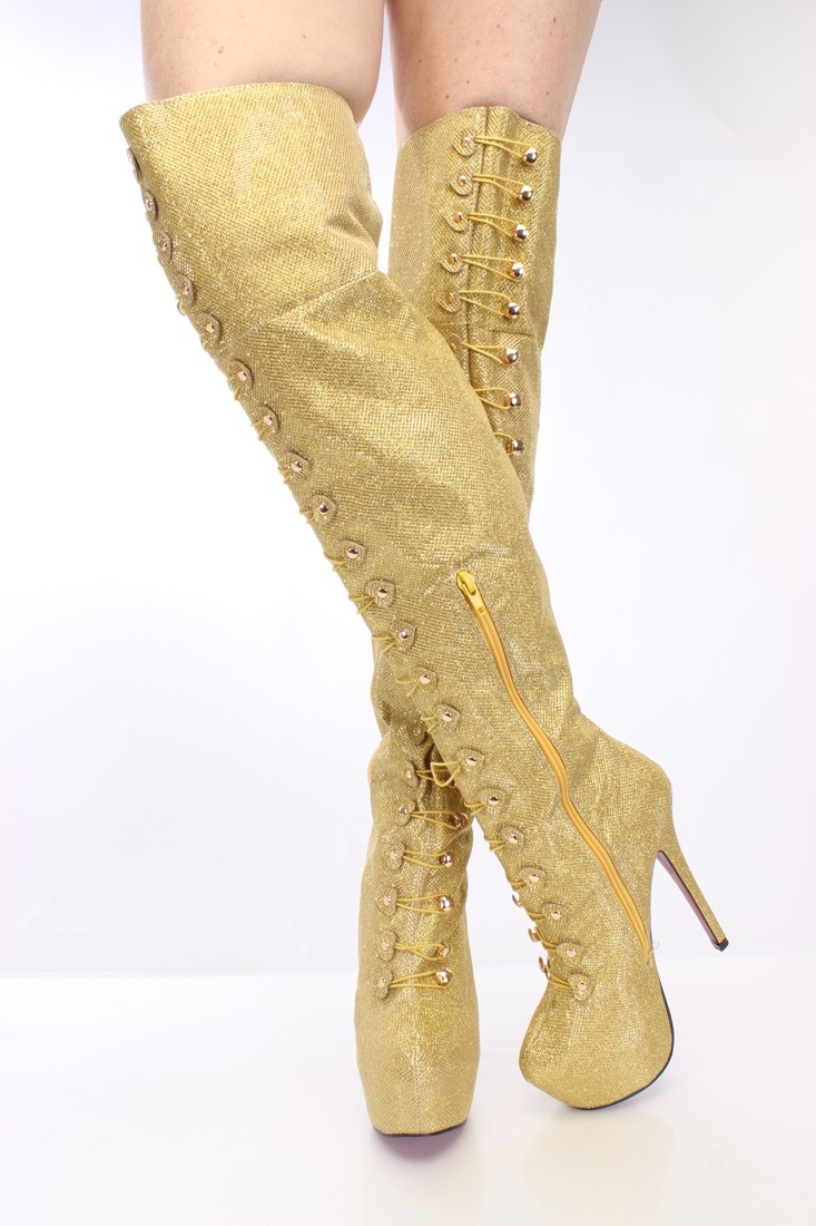 Gold Thigh High Boots KfBU581k