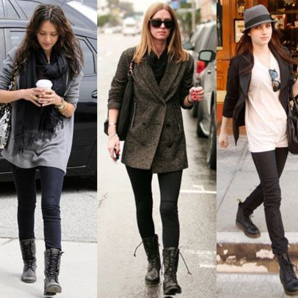 Outfits With Black Combat Boots - Boot Yc