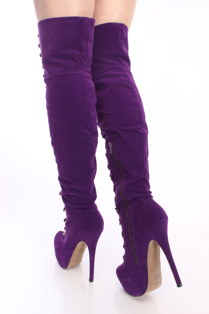 Purple Thigh High Boots kYILl3Nn