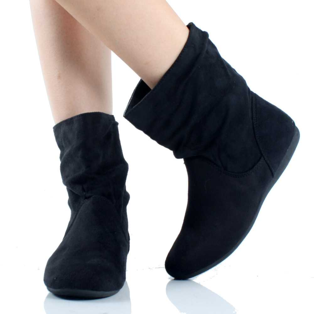 suede flat ankle boots