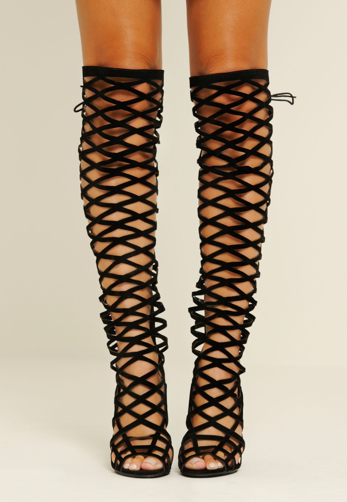 thigh high caged boots boot yc