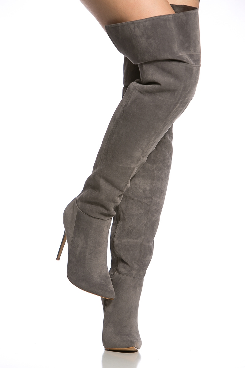 Thigh High Grey Suede Boots DBMl8TMK