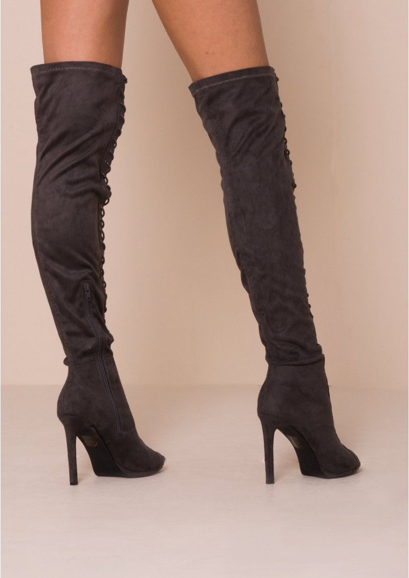 Thigh High Lace Up Flat Boots 4h5RculN