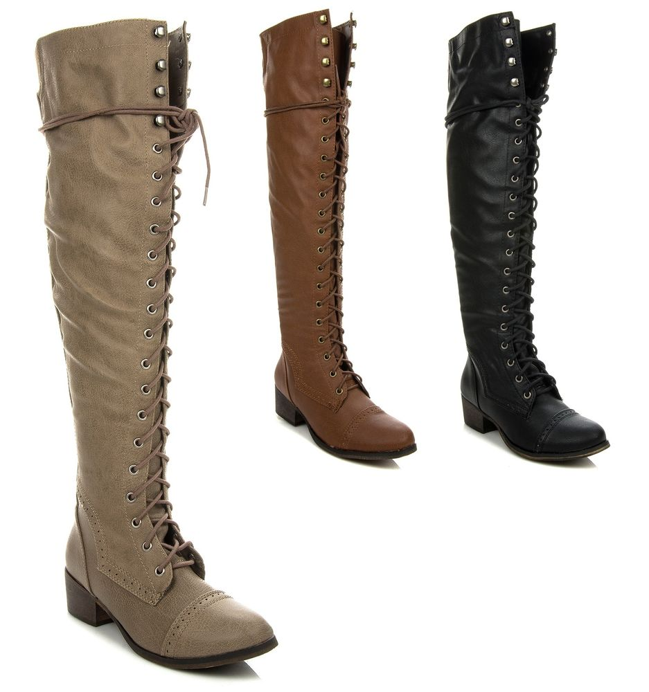 Thigh High Lace Up Flat Boots Y1CuEn0F