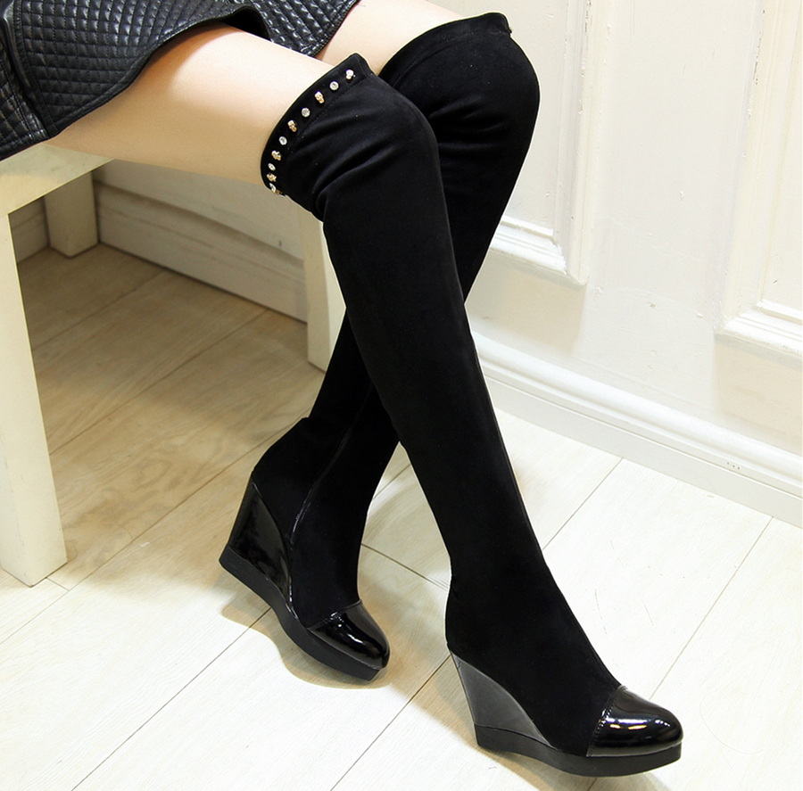 Wedge Thigh High Boots CEGAg2Ck