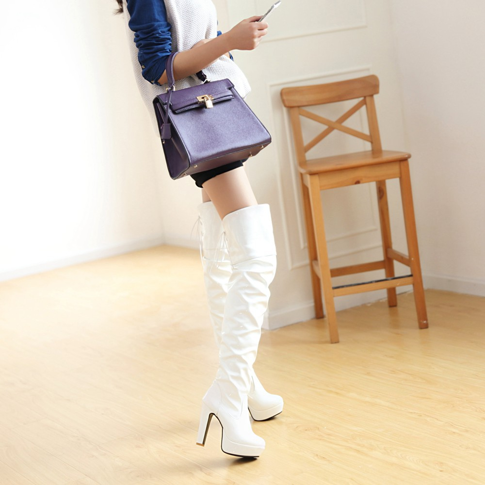 White Over The Knee Boots 4Db1fx2F