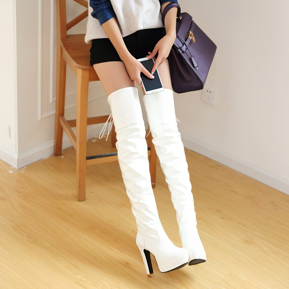 White Over The Knee Boots cqEllWwu