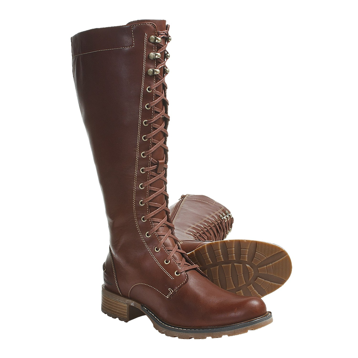 Cool Home Shoes Womens Boots Frye Lindsay Plate Women Leather Brown Knee