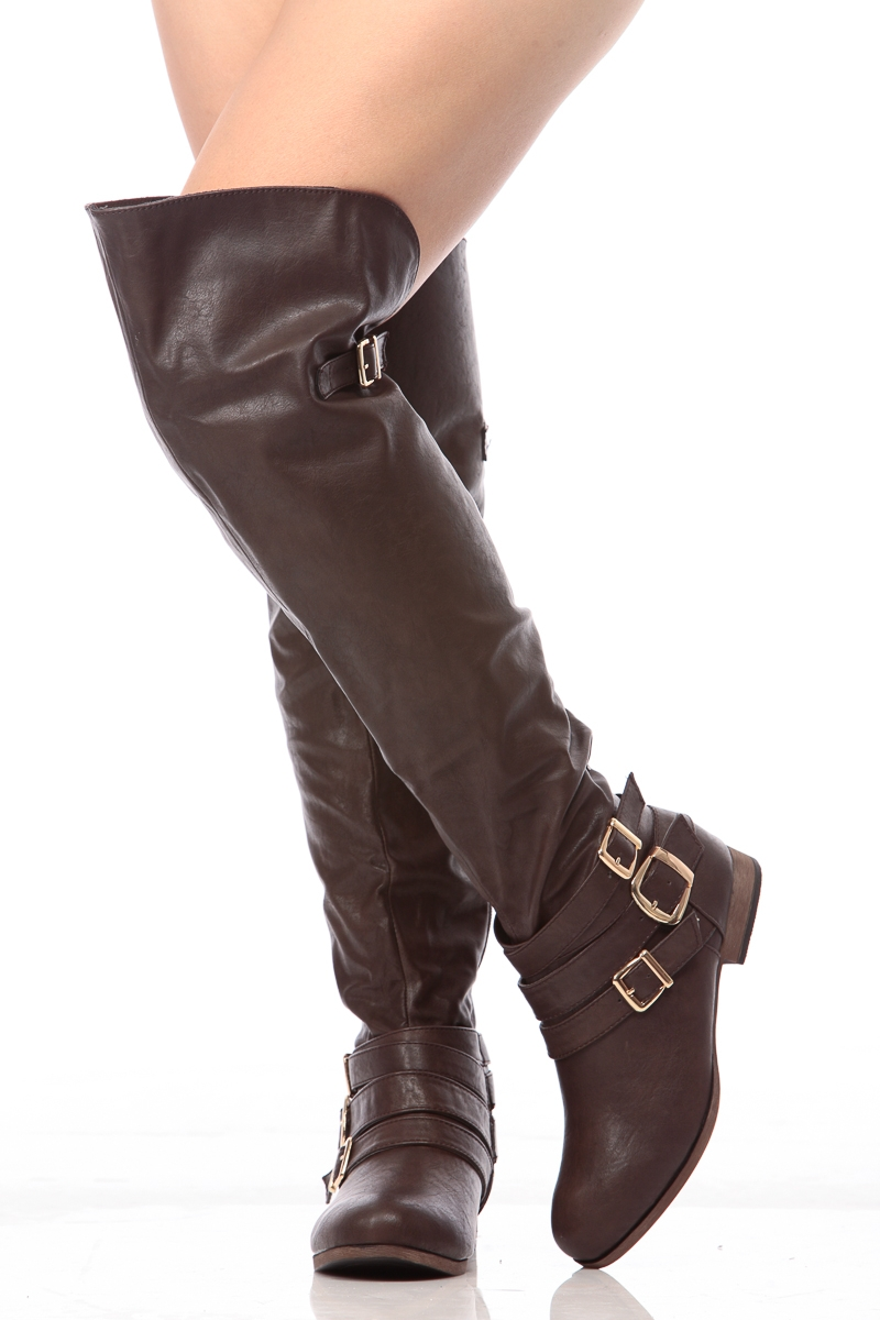 98e091b86d7 Over The Knee Faux Leather Boots - Boot Yc
