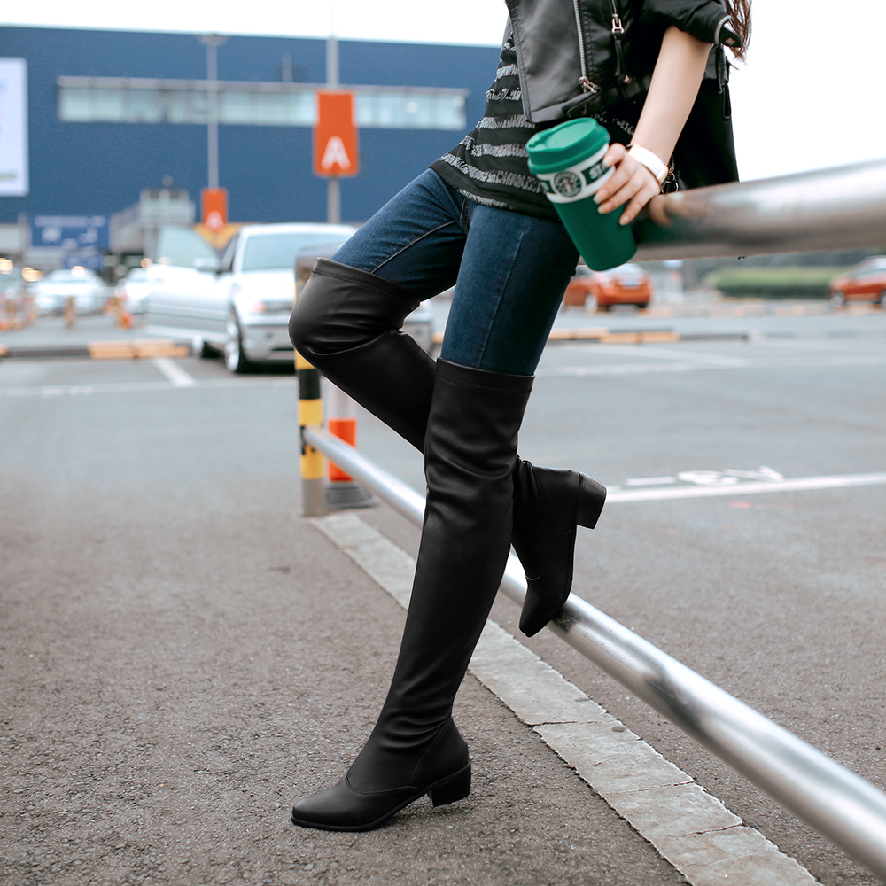 a2091a1e02b Over The Knee Black Boots Low Heel - Images Of The Best Knee