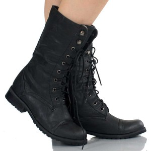 Black Lace Up Boots For Women Boot Yc