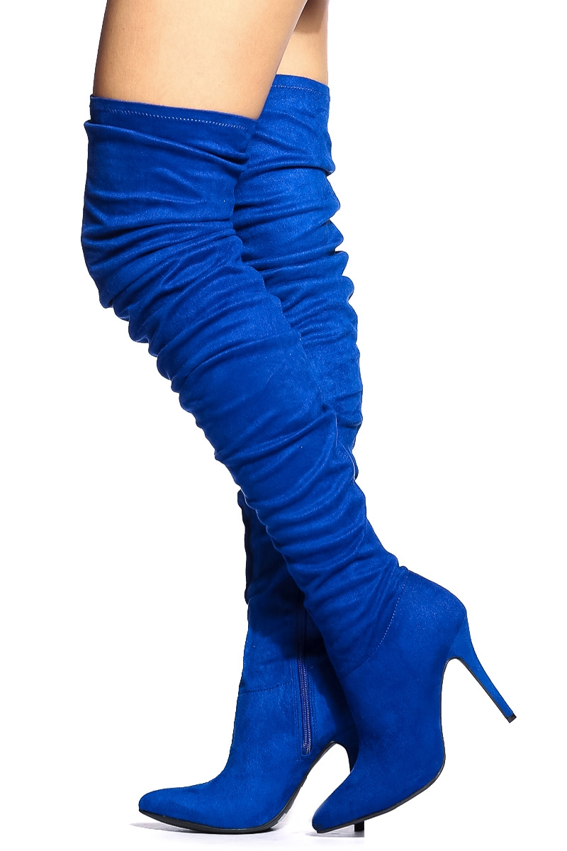 blue suede thigh high boots boot yc