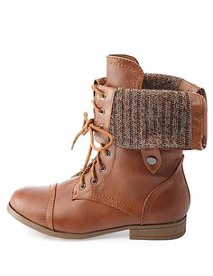Brown Folded Combat Boots kEheSTxT