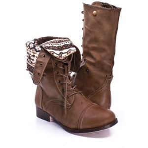 Brown Folded Combat Boots 2VjnF4k0